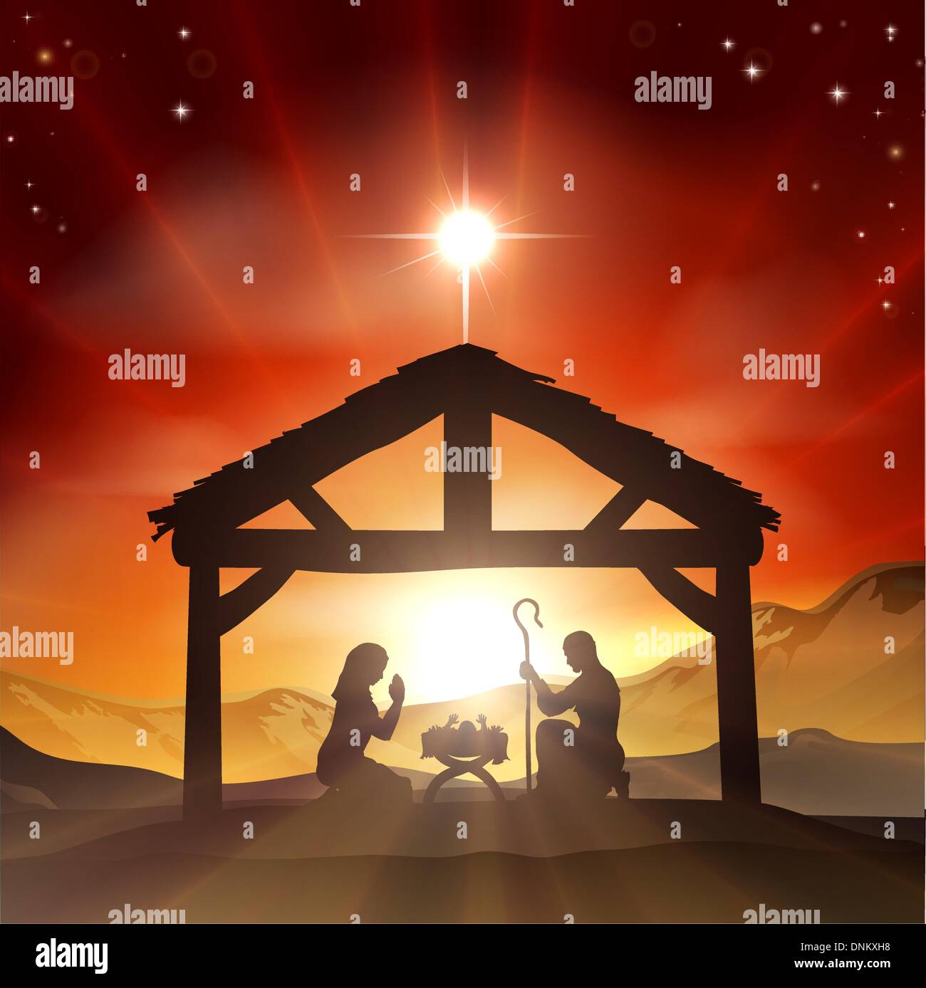 Christmas christian nativity scene with baby jesus in the
