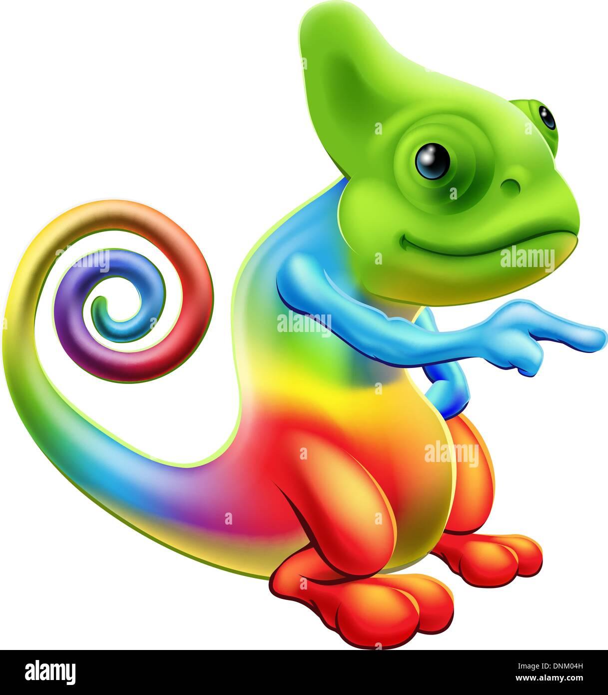 illustration of a cartoon rainbow chameleon mascot standing and rh alamy com chameleon clip art free mixed up chameleon clipart