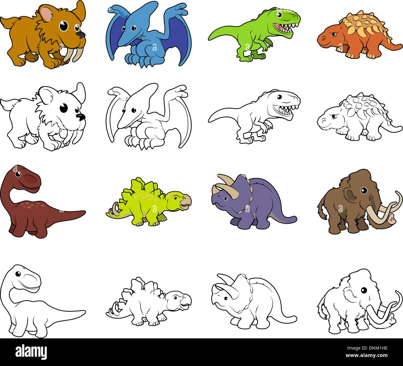 A Set Of Cartoon Prehistoric Animal And Dinosaur