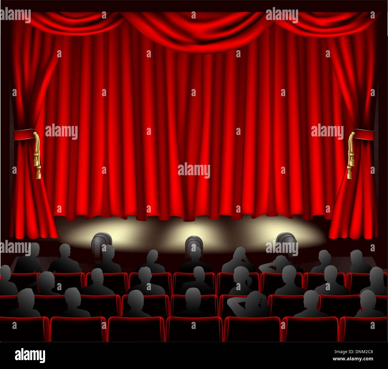 Illustration of theatre with curtains and audience Stock Vector ...