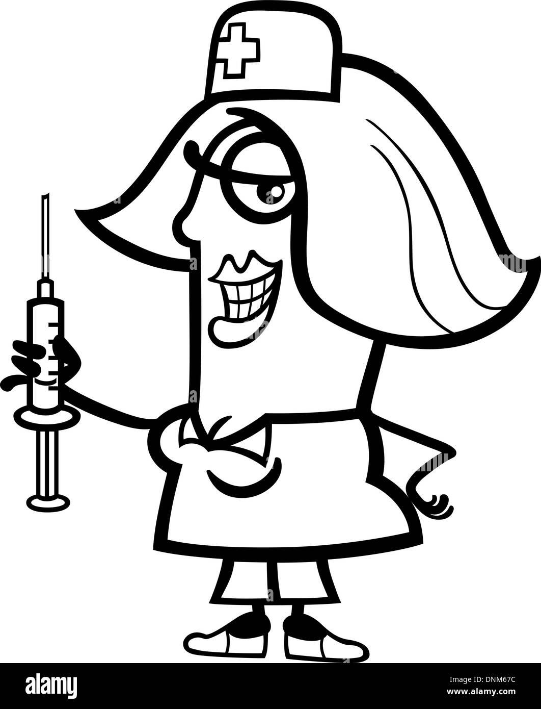 black and white cartoon illustration of funny female nurse