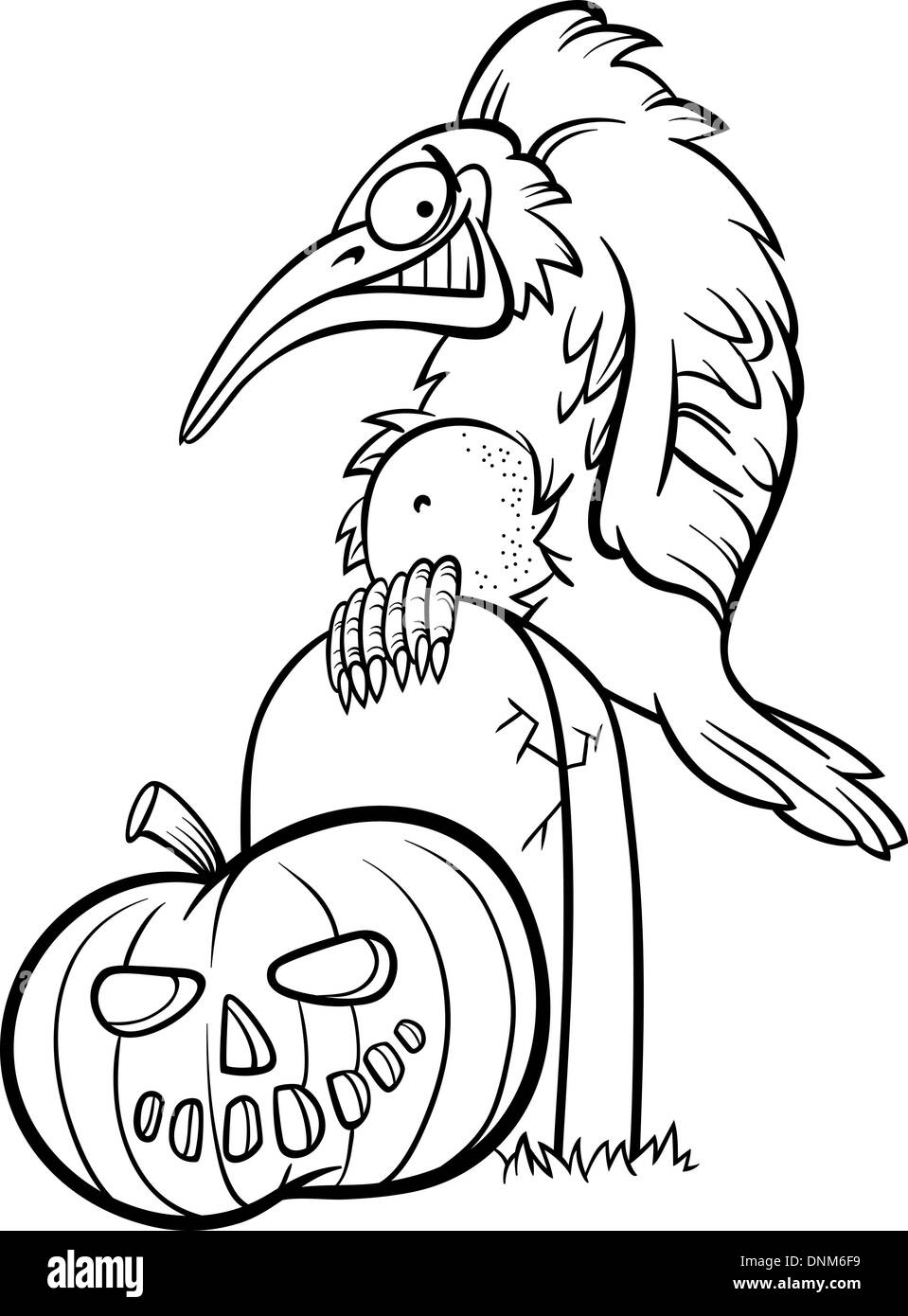 black and white cartoon illustration of spooky raven or crow on