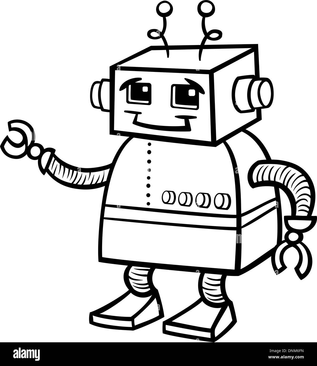 Black And White Cartoon Illustration Of Cute Robot Or Droid For Children To Coloring Book