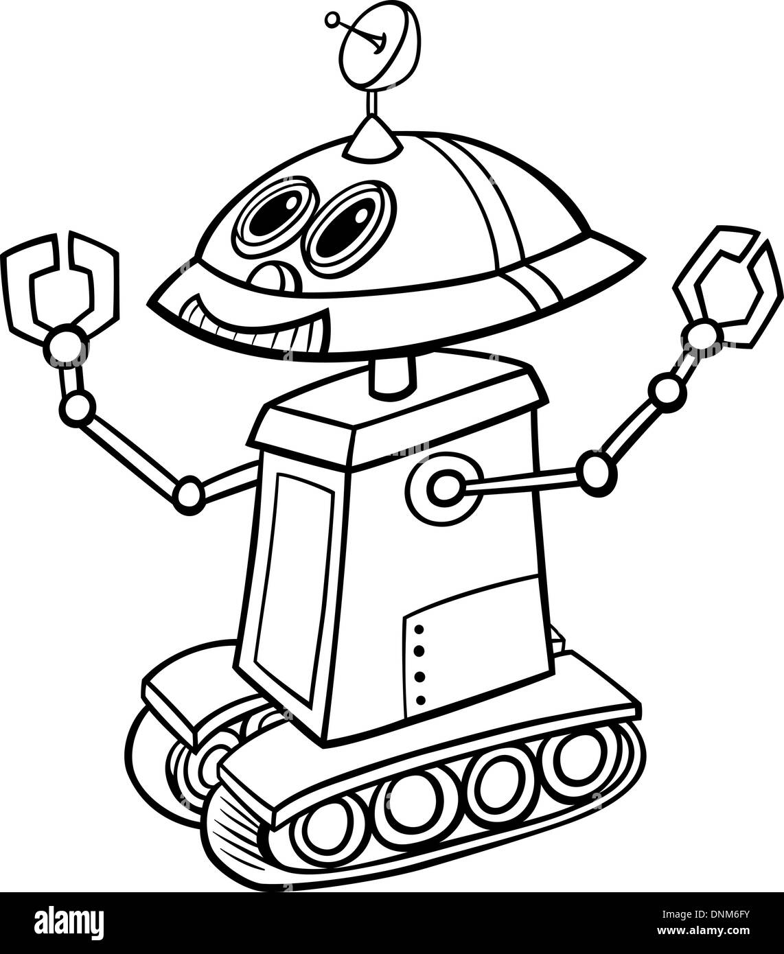 Black And White Cartoon Illustration Of Funny Robot Or Droid For Children To Coloring Book