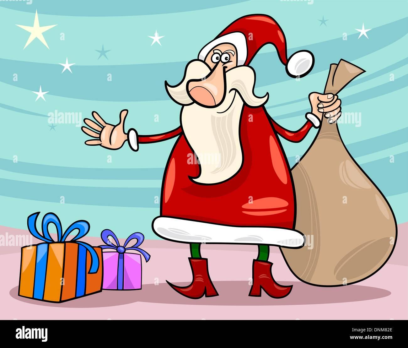 cartoon illustration of funny santa claus or papa noel with