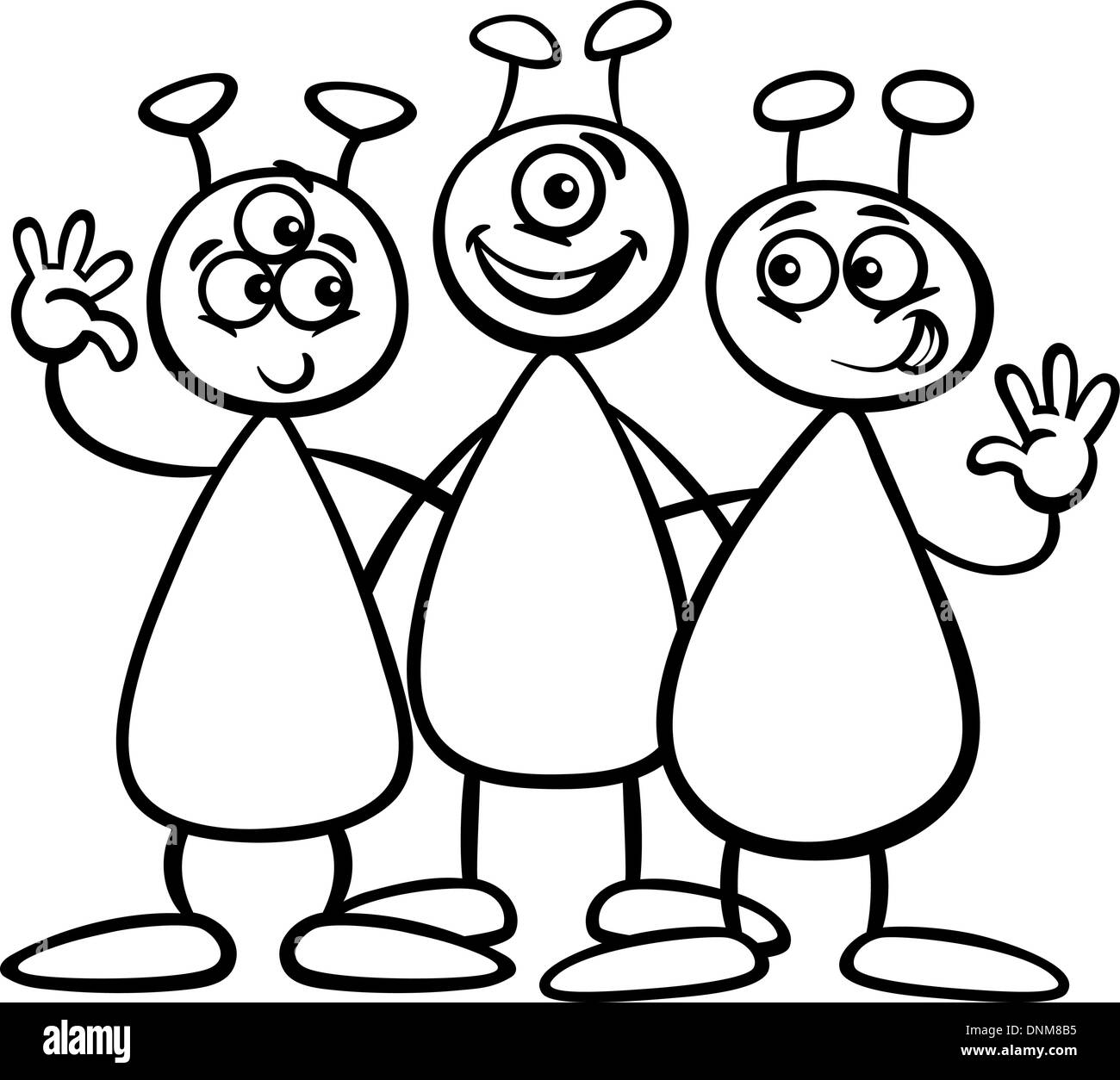 black and white cartoon illustration of three funny aliens