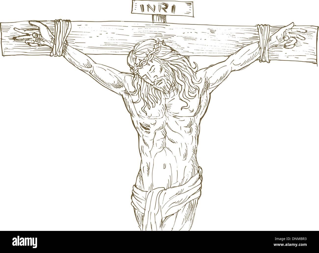 hand drawn illustration of jesus christ hanging on the cross stock