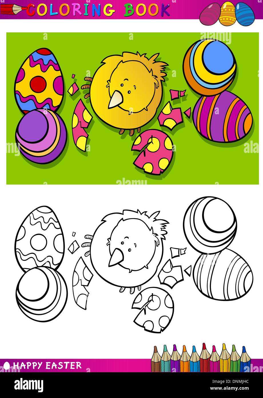 Coloring Book or Page Cartoon Illustration of Easter Little Chick or ...