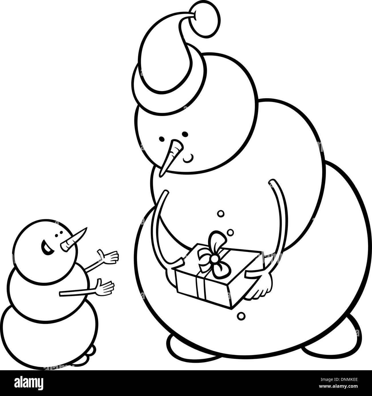 Black and White Cartoon Illustration of Snowman as Santa ...