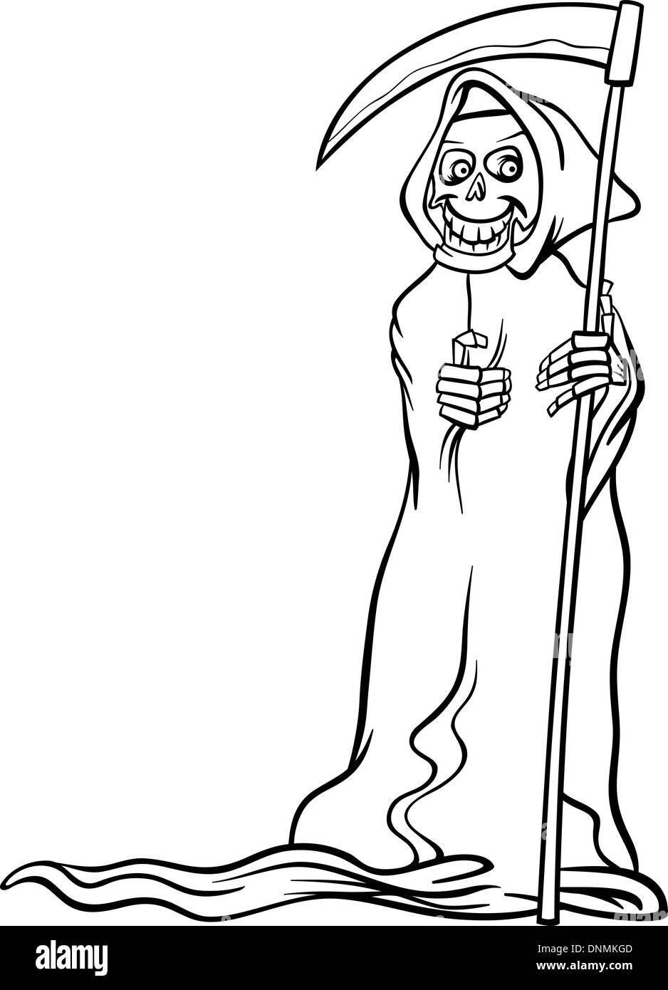 black and white cartoon illustration of spooky halloween death