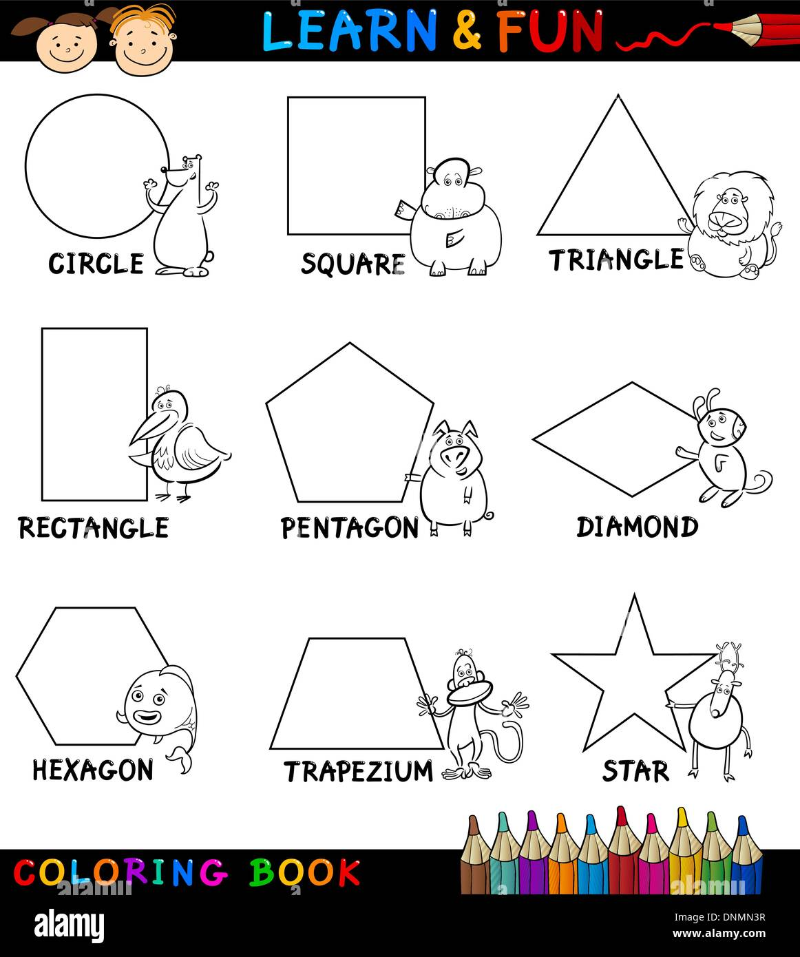 cartoon coloring book or page illustration of basic geometric