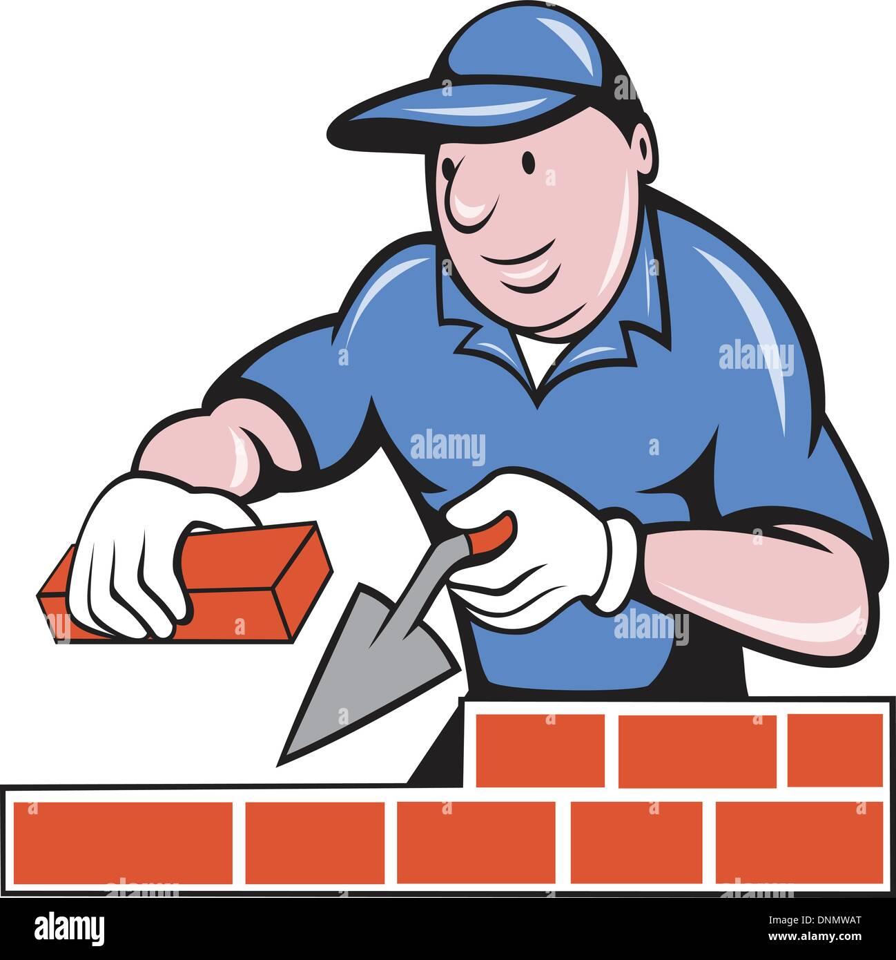 Mason Trowel Clip Art Cartoon : Illustration of a bricklayer mason at work done in cartoon