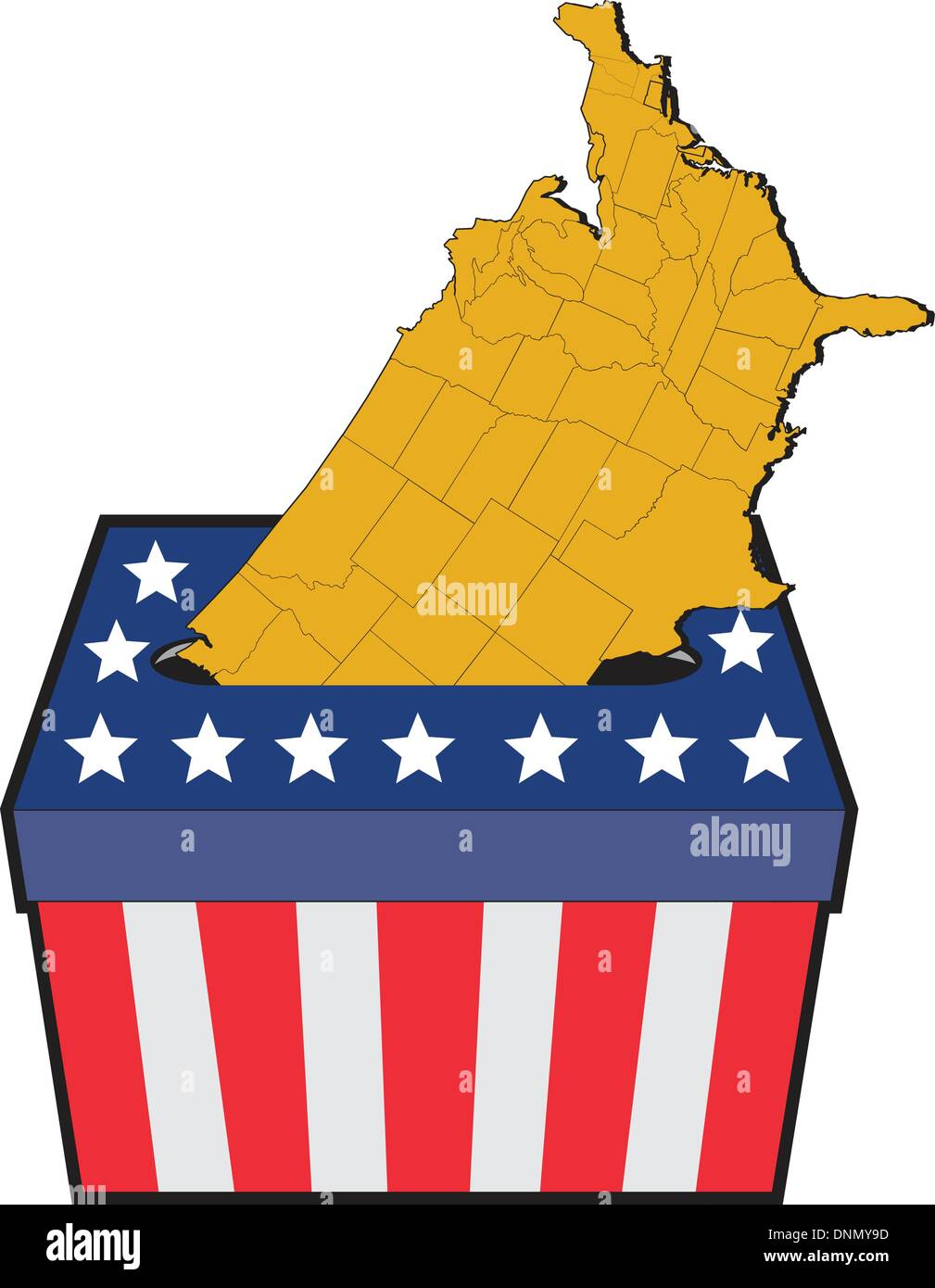 Illustration Of An Election Ballot Box With American Stars And - Us electoral map vector graphic