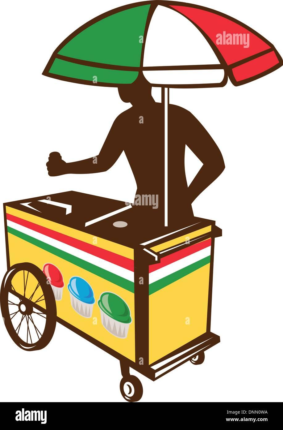 Illustration of an Italian ice push cart vending vendor with ...