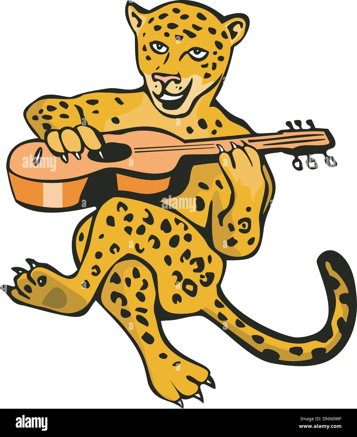 illustration of a cartoon jaguar lion playing guitar isolated on