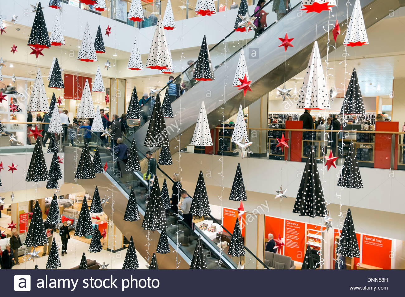 Christmas decorations in a John Lewis store Bristol UK Stock