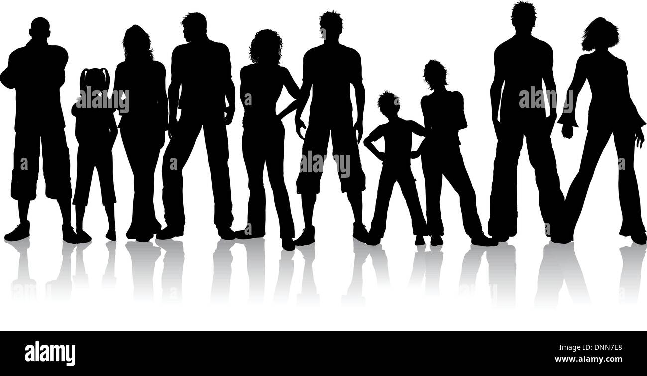 Silhouette of a large group of people Stock Vector Art ...