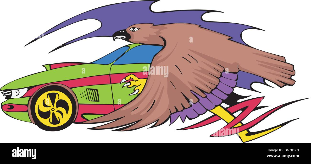 racing design car with eagle color vector illustration stock