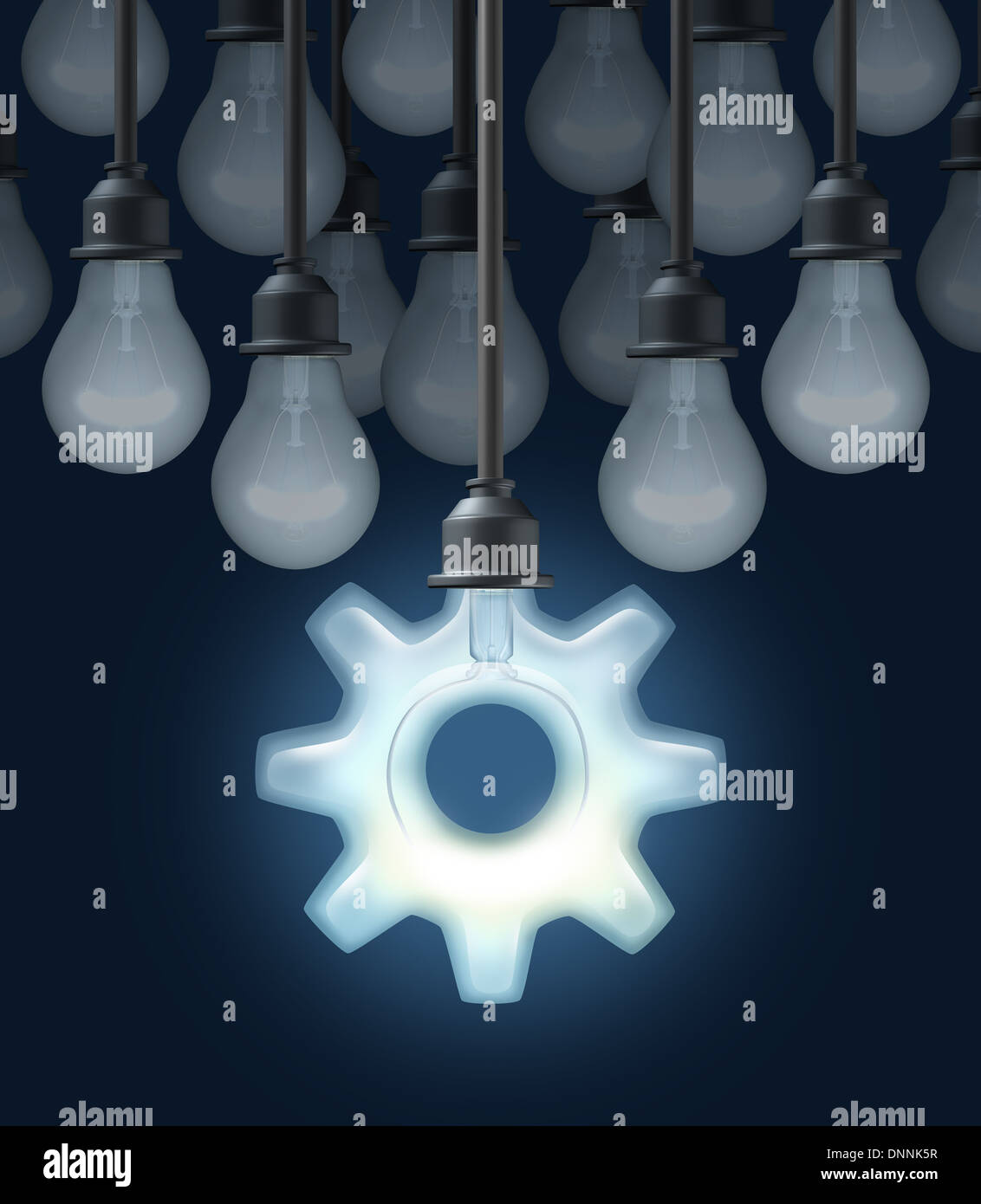 Innovation ideas as a business concept for thinking out of the box innovation ideas as a business concept for thinking out of the box with a group of light bulbs and one light shaped as a gear or cog as a symbol of biocorpaavc