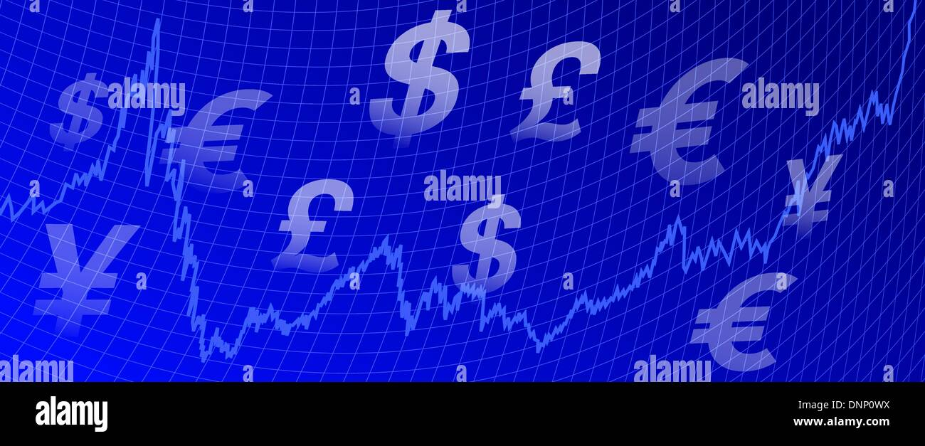 Stock market graph with currency symbols on a blue background stock stock market graph with currency symbols on a blue background buycottarizona Gallery