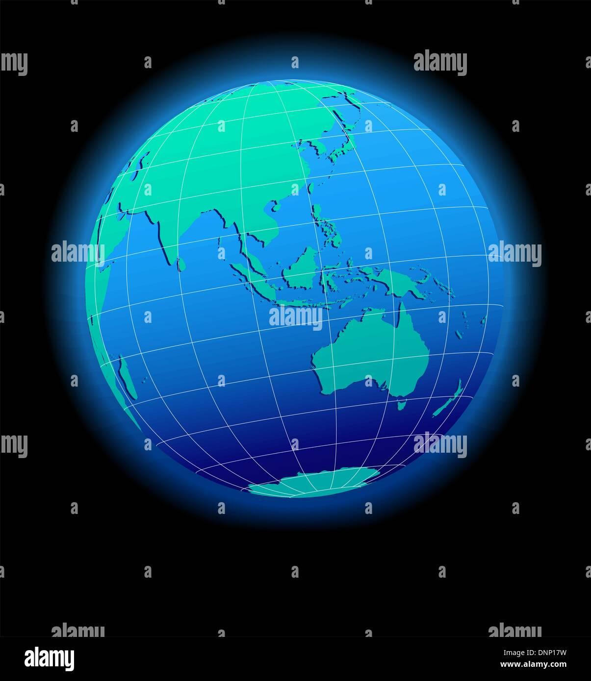 Vector Map Icon of the world in Globe form  Australia Malaysia
