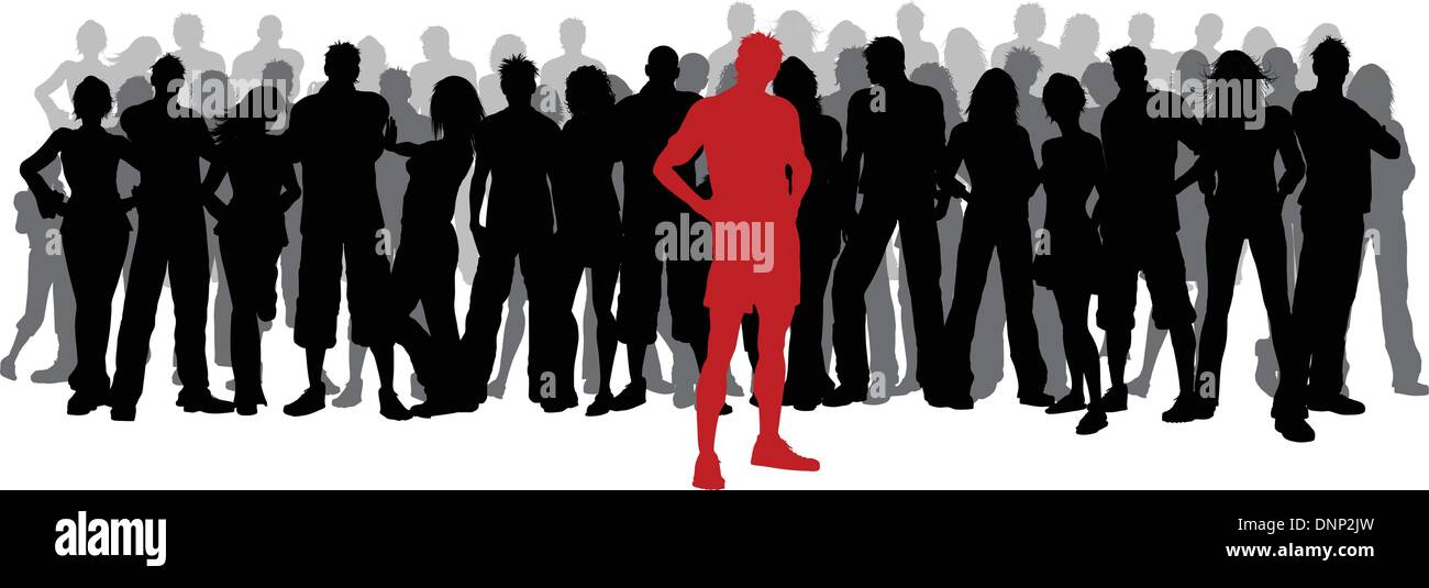 One Person Standing Out In A Crowd Silhouette of a huge c...