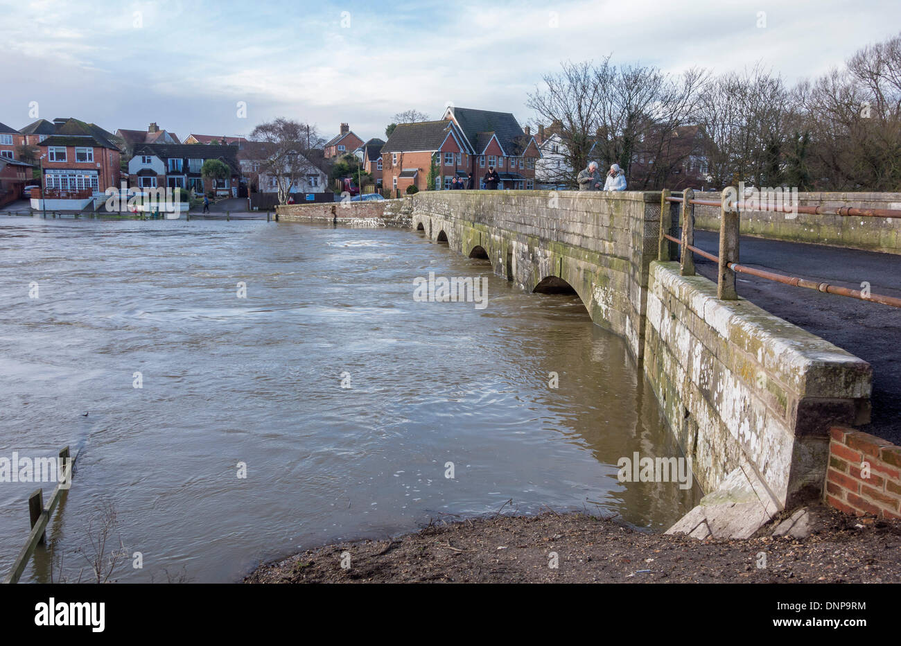 Iford Bridge Home Park Christchurch And Flood Levels Of The River Stour Dorset UK