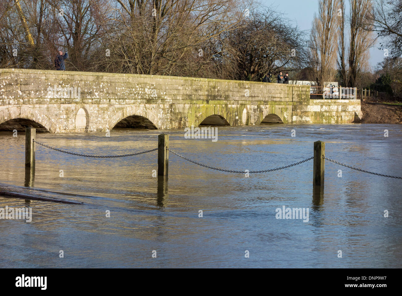 Iford Bridge Christchurch And Rising Flood Levels Of The River Stour Dorset UK