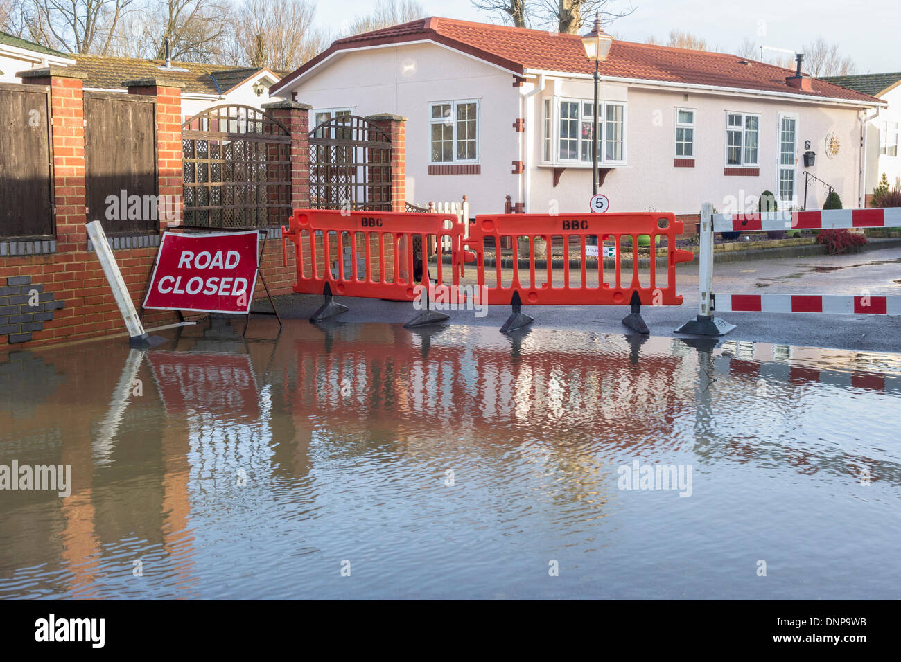Iford Bridge Home Park Christchurch Affected By Rising Flood Levels Of The River Stour Dorset UK