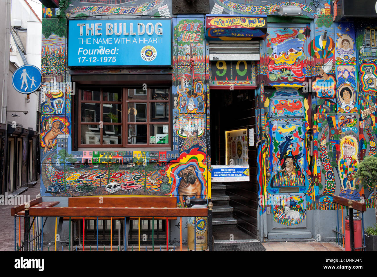 The Bulldog coffee shop in the Red Light District of Amsterdam, the Stock Photo, Royalty Free
