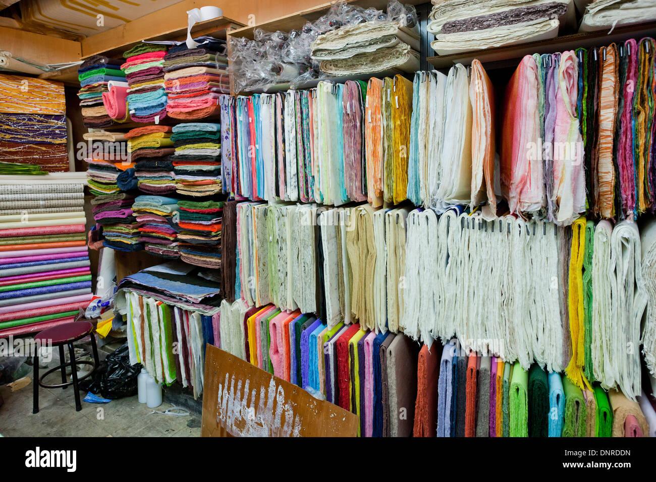 Various hanji traditional korean handmade paper in Calligraphy store