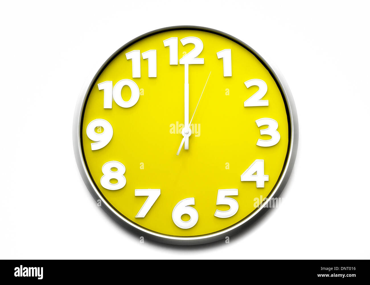yellow clock face midday 12 o'clock the clock strikes ...