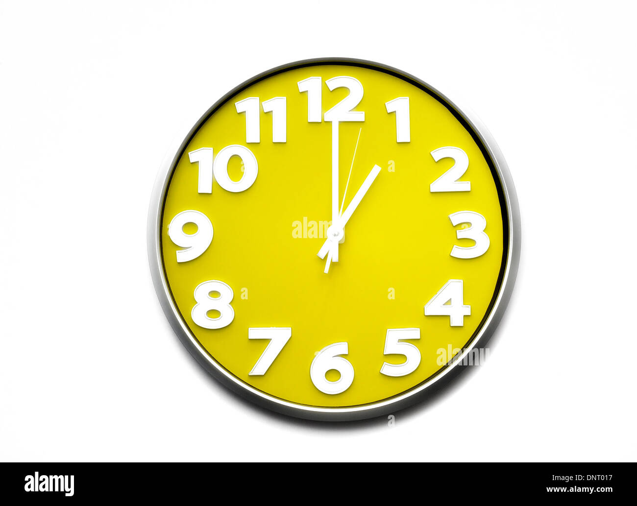 yellow clock face 1 o'clock the clock strikes one 1300 hours Stock ...