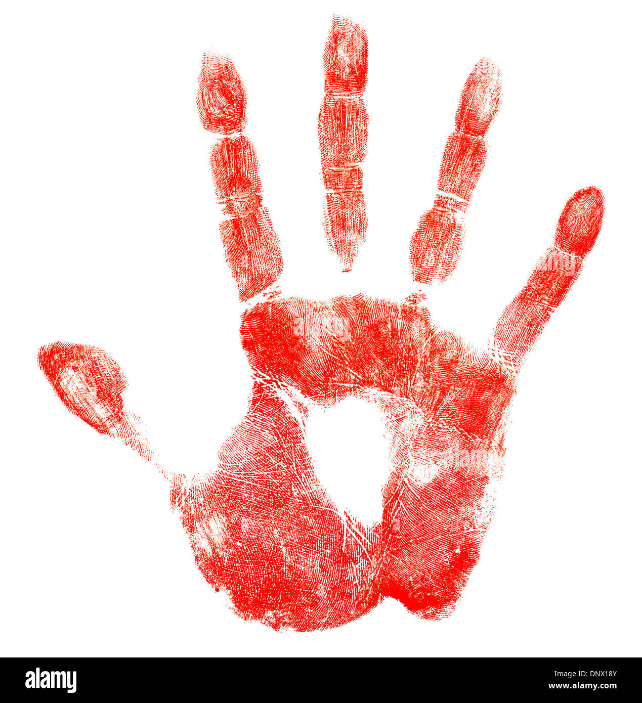 bloody red hand print isolated on white stock photo