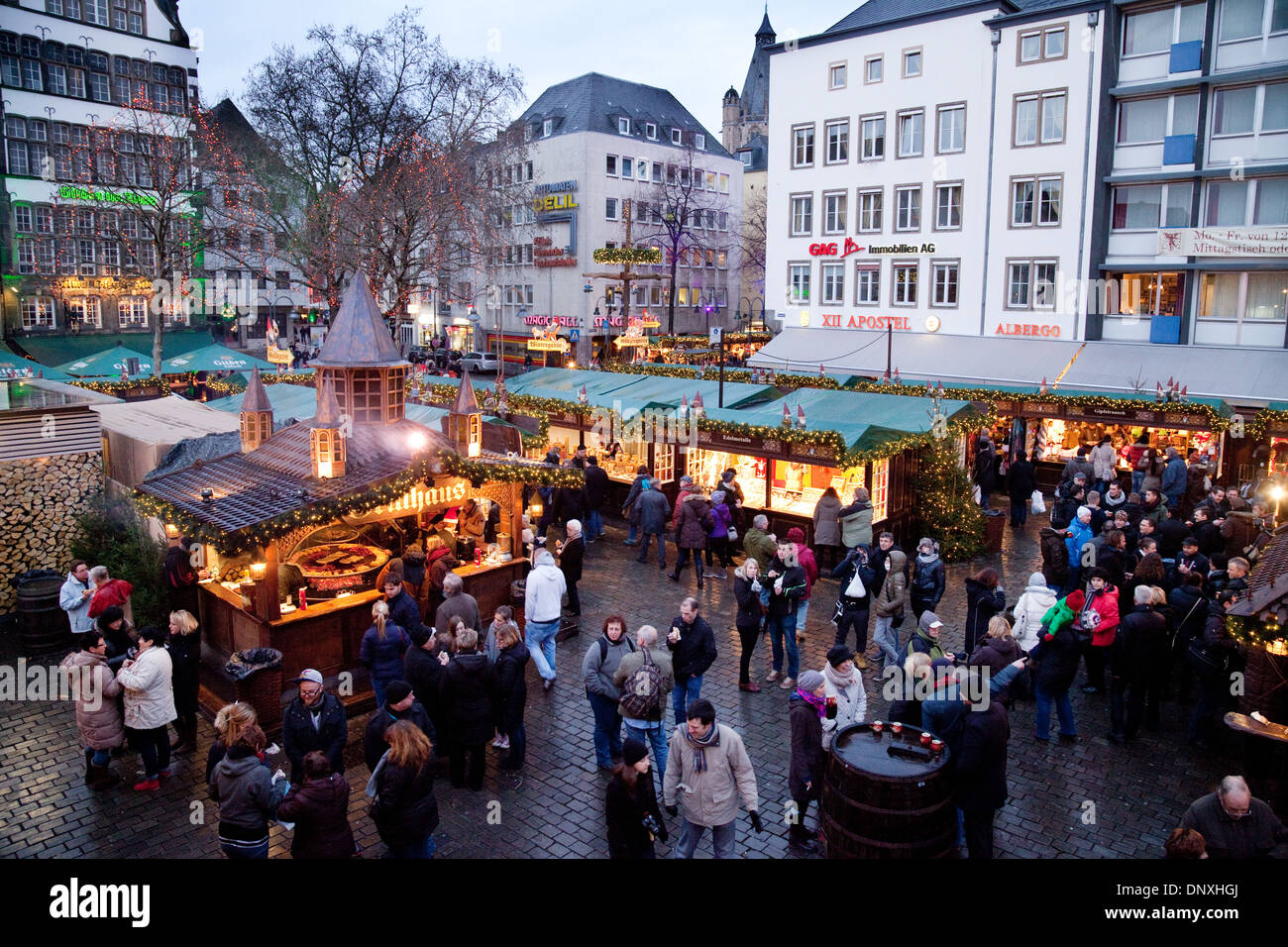 cologne christmas market a view over the old market or alter markt stock photo royalty free. Black Bedroom Furniture Sets. Home Design Ideas