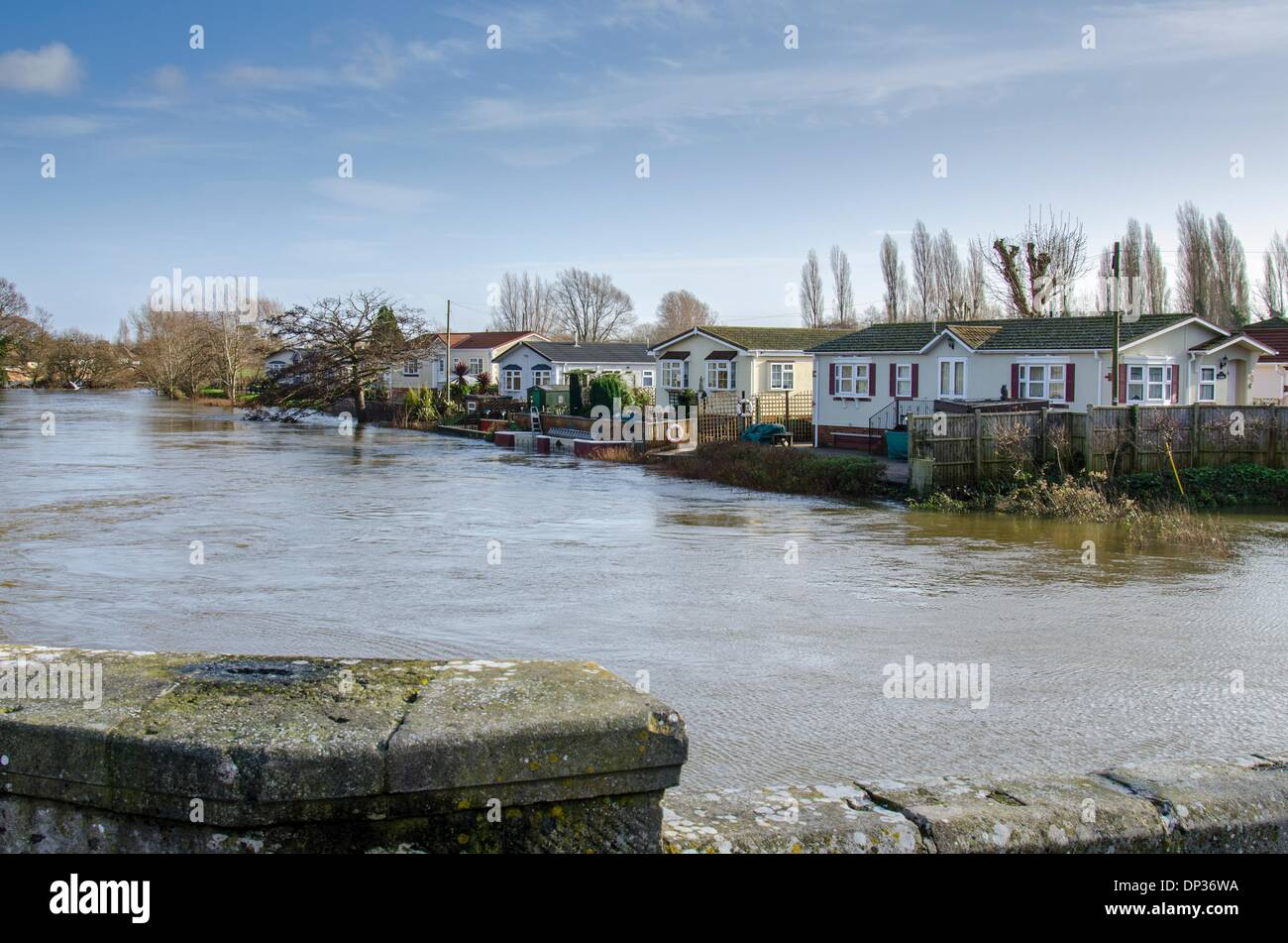Iford Bridge Home Park Bournemouth Dorset UK 7th January 2014 Floodwater From The Stour At Near