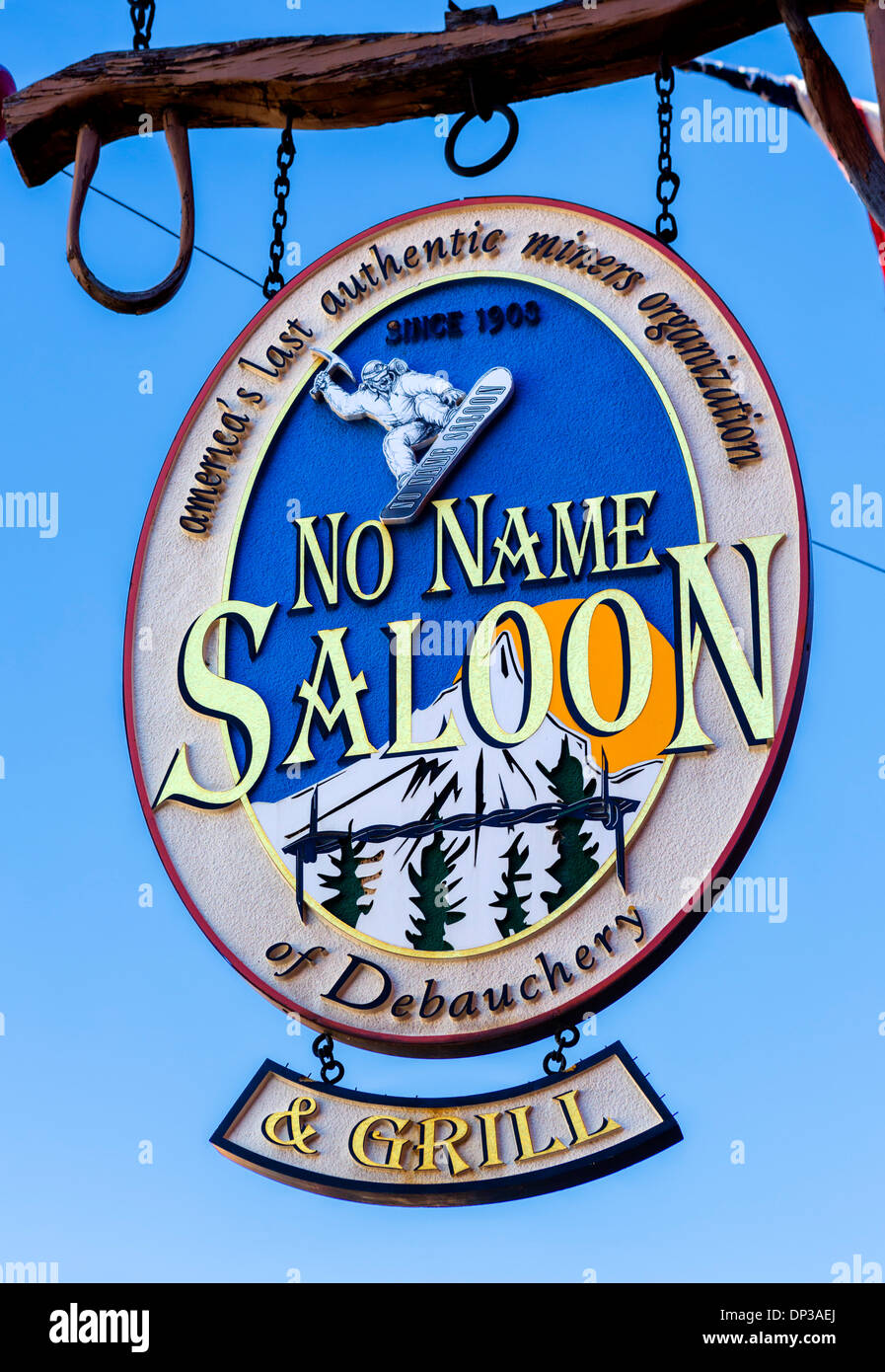 Sign for the no name saloon on main street in downtown - No name saloon and grill park city ut ...