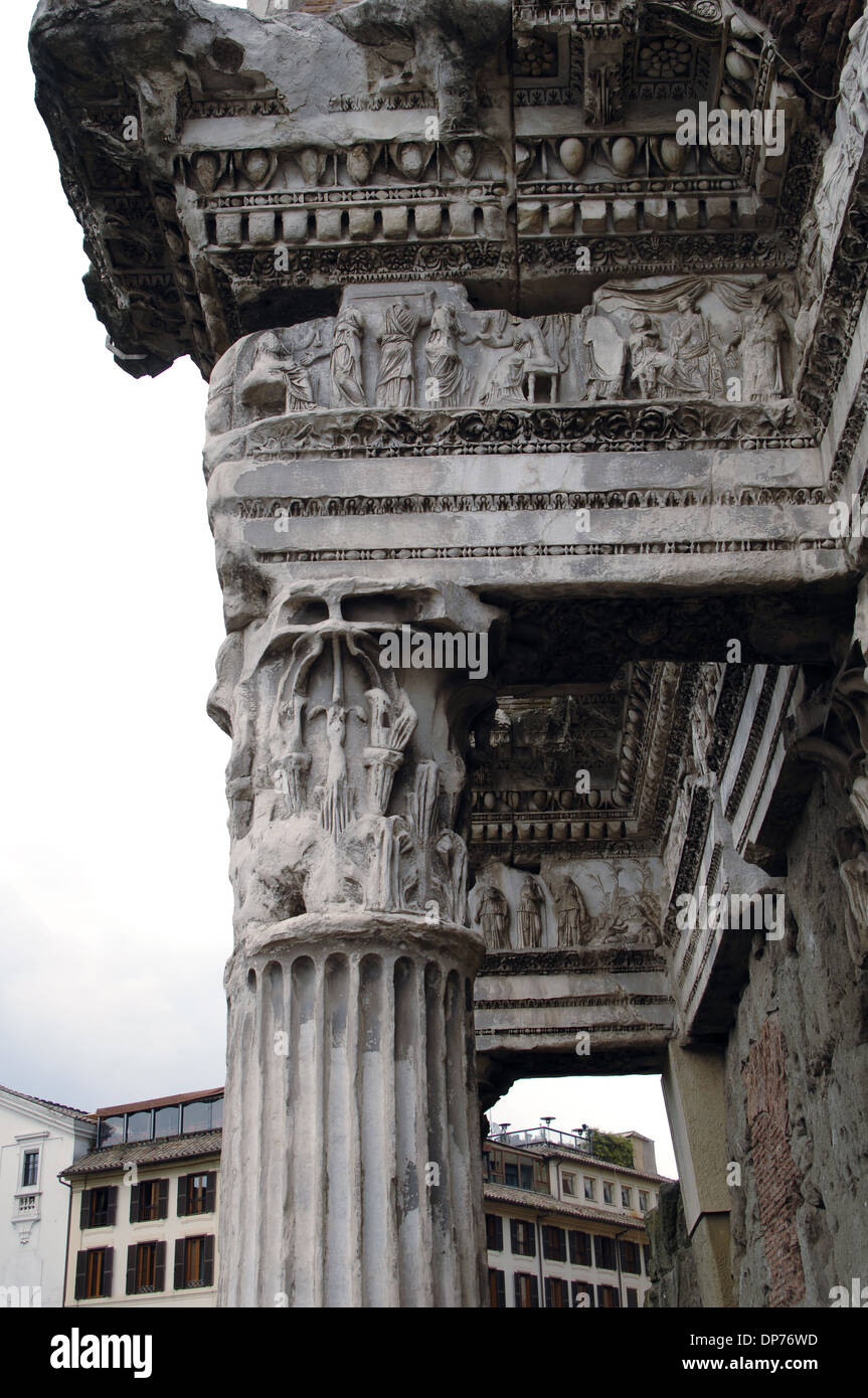 Italy Rome Forum Of Nerva Or Transitorium The Colonnacce Entablature With Frieze Showing Scenes Myth Arachne