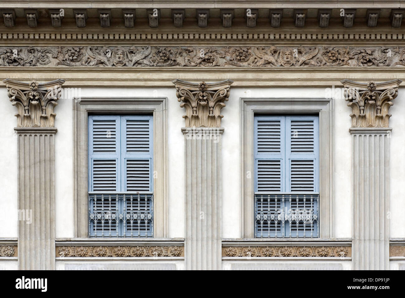 Architectural Details Milan Twin Windows With Decorated Frieze And Pilasters Capitals