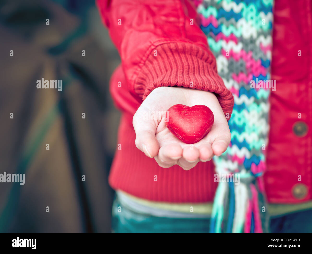 Heart shape love symbol in woman hands Valentines Day romantic ...