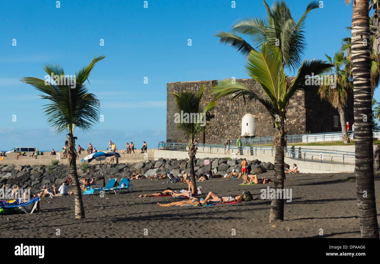 Playa jardin puerto cruz tenerife castillo san felipe with beach stock photo royalty free - Hotel san felipe tenerife puerto de la cruz ...
