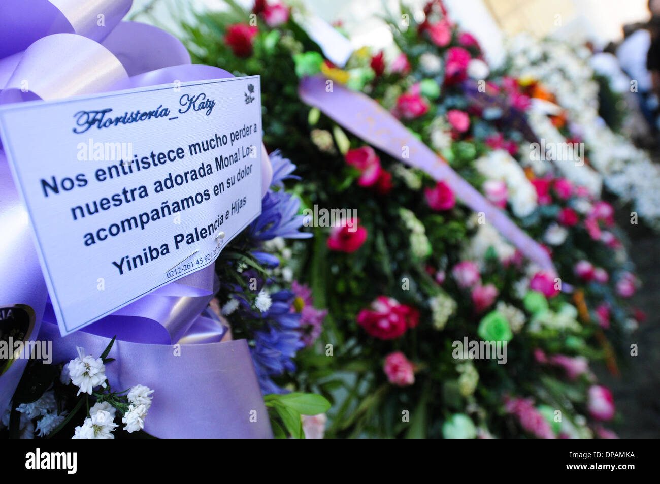 Caracas venezuela 10th jan 2014 a message of condolences and a message of condolences and wreaths of flowers are placed during the funeral of the actress model and former miss venezuela monica spears kristyandbryce Images