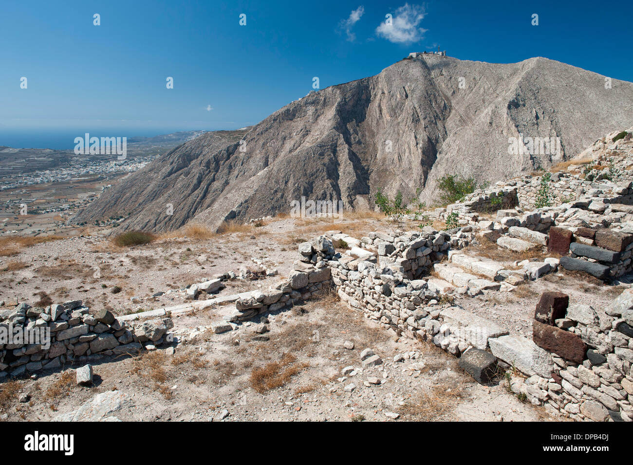 The ruins of Ancient Thira on the summit of Messavouno ...