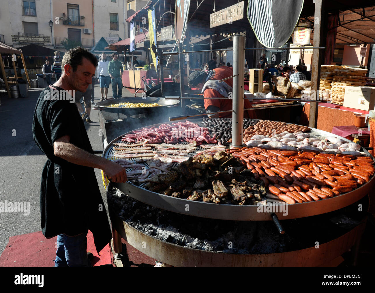 Giant barbecue in the annual all saints market in - Cocentaina espana ...