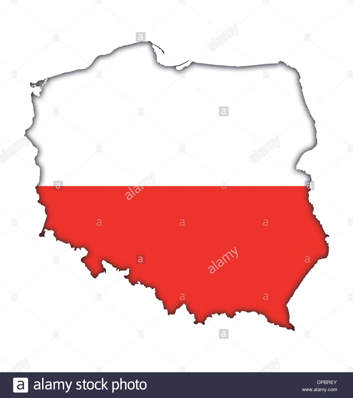 polish flag banner map icon logo of poland stock photo