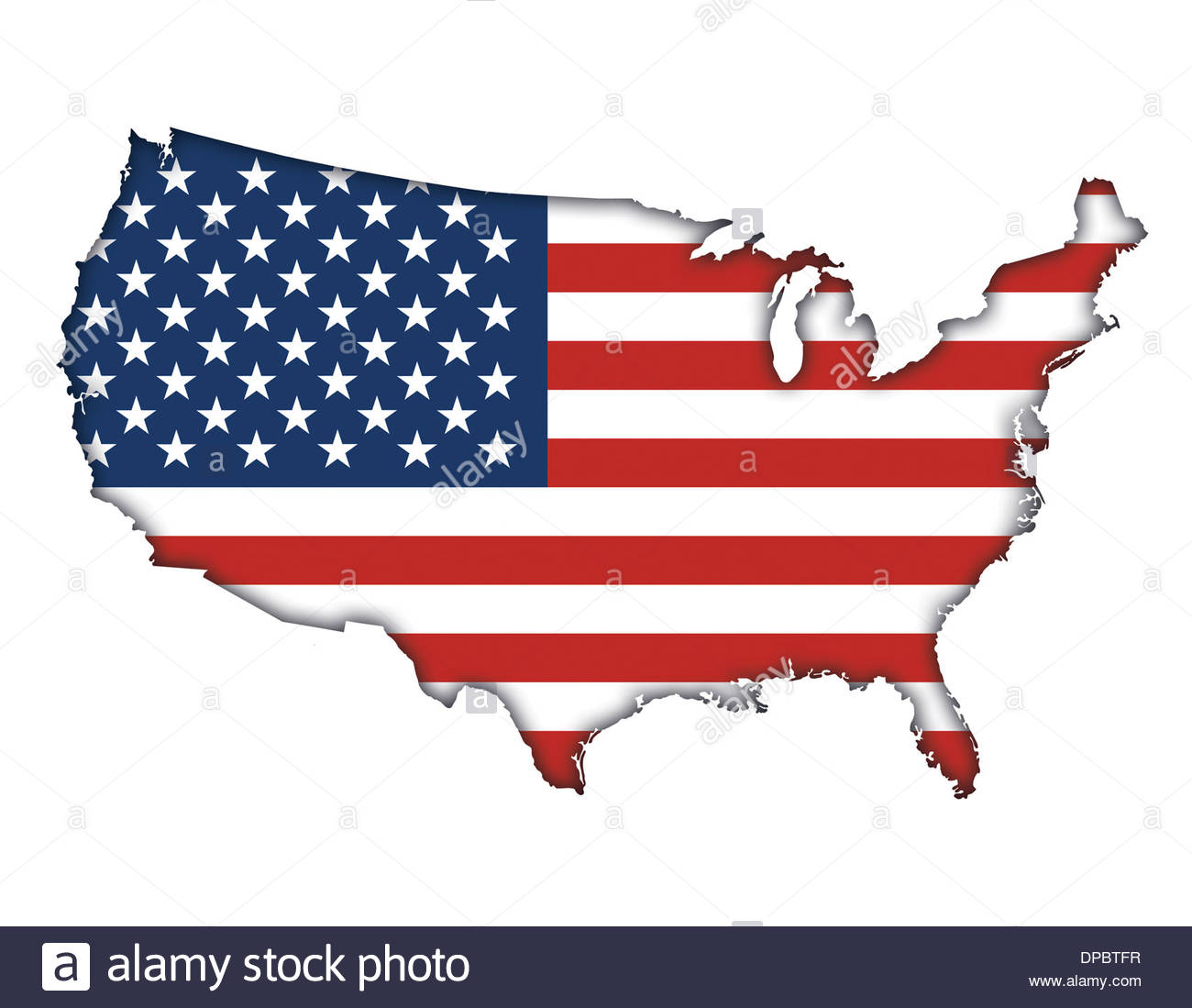 American flag banner map icon logo of USA Stock Photo Royalty