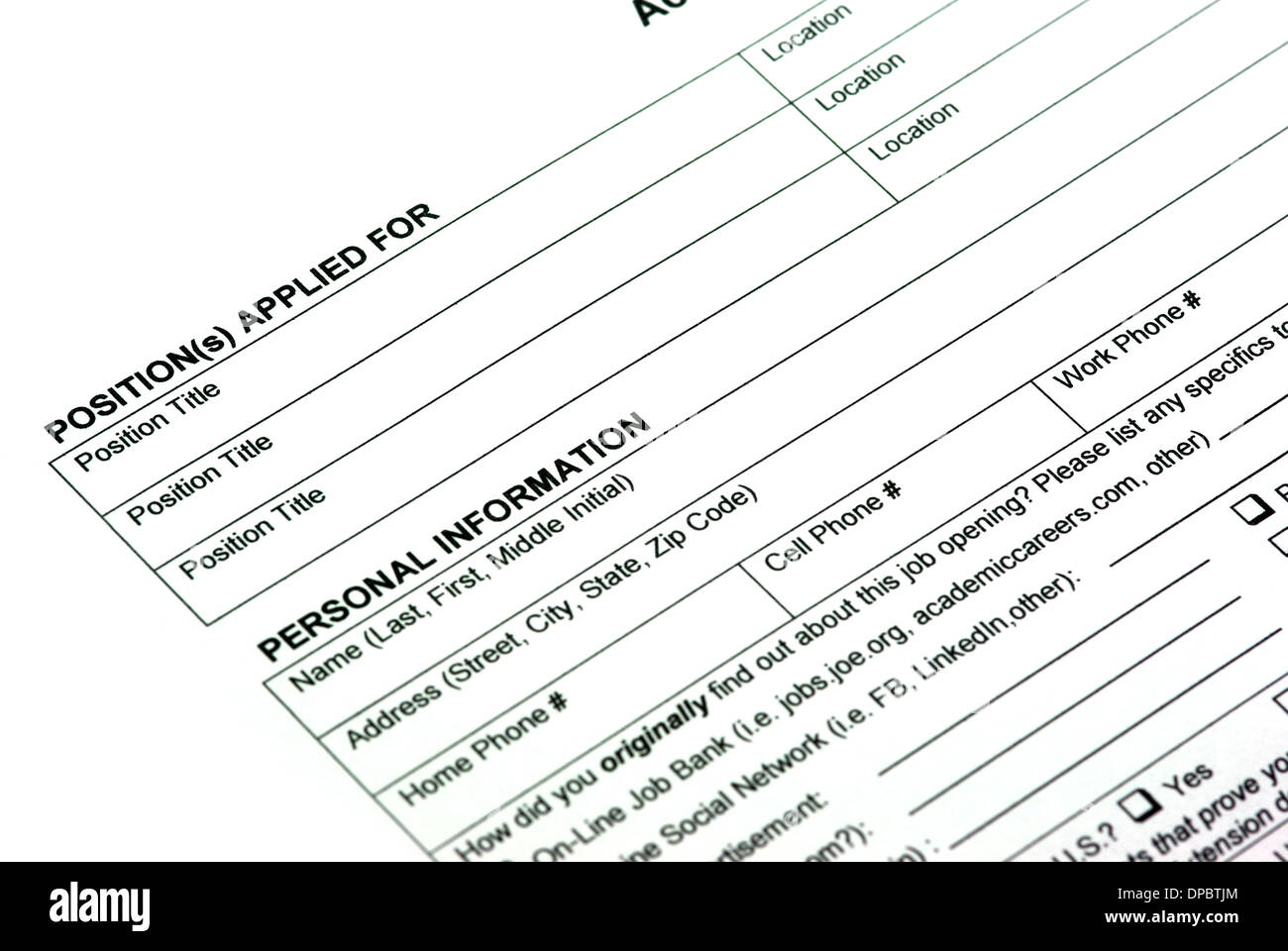 empty application form for a new job stock photo royalty empty application form for a new job