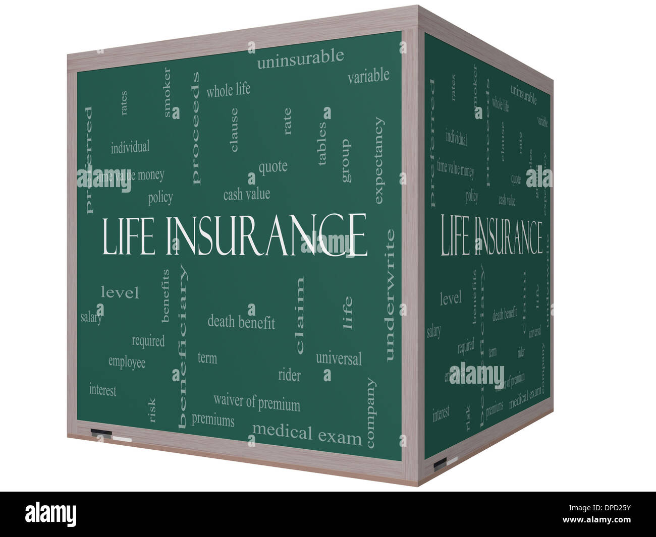 Free Whole Life Insurance Quotes Life Insurance Word Cloud Concept On A 3D Cube Blackboard With