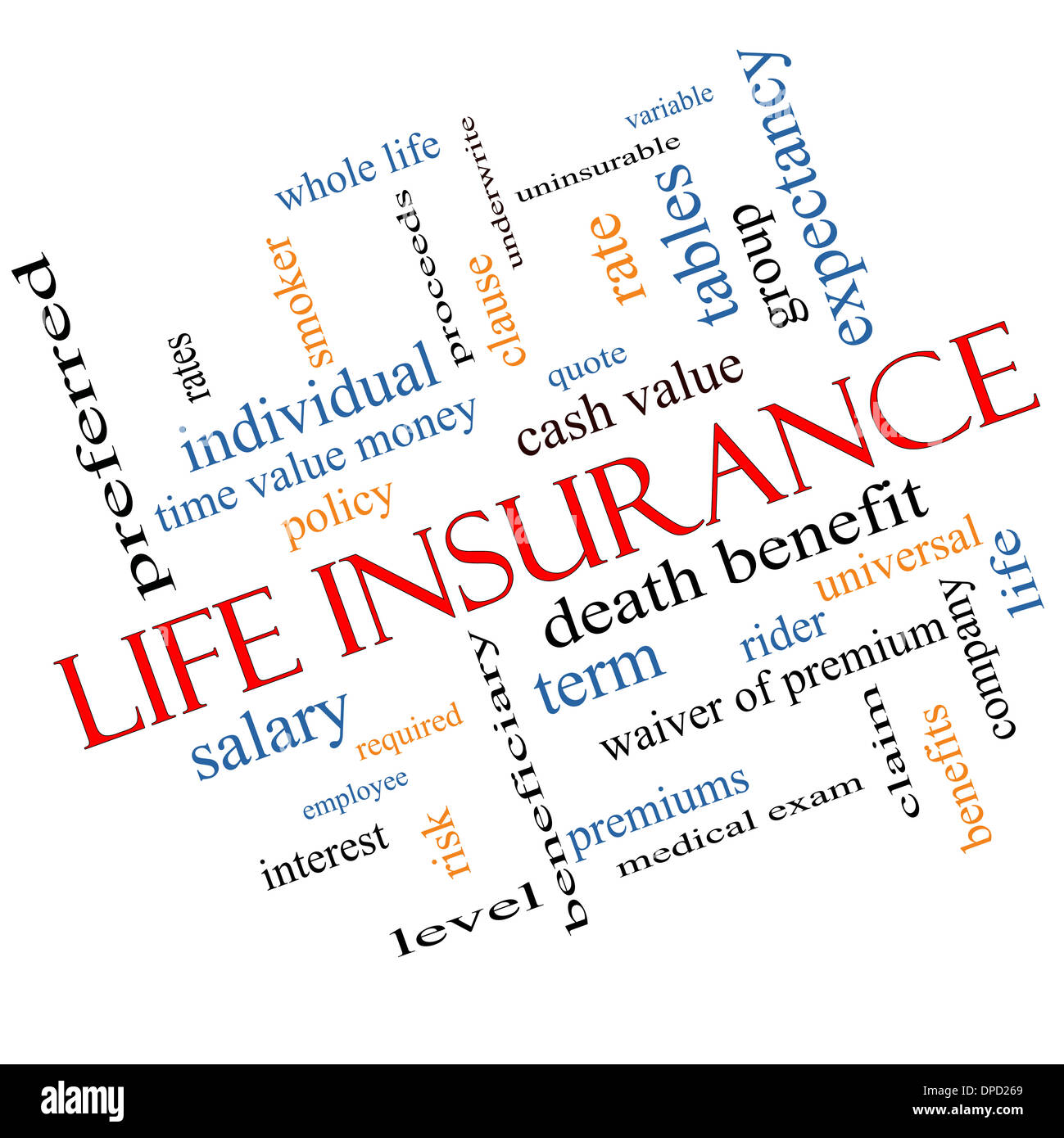 Life Insurance Word Cloud Concept Angled With Great Terms Such As Term,  Whole Life, Rider, Quote And More.