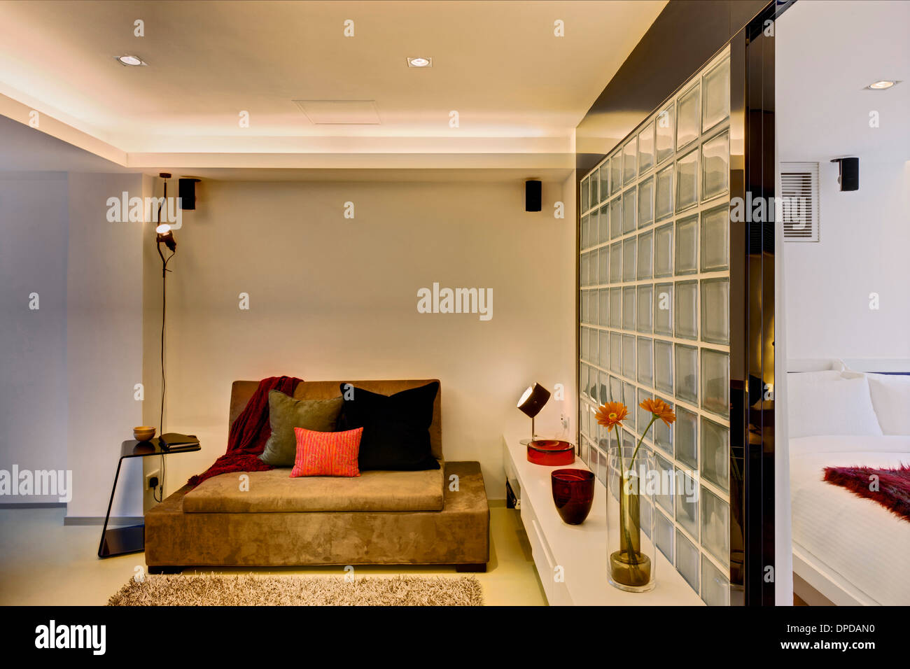 Glass brick wall partition in V serviced apartments, Causeway Bay ...